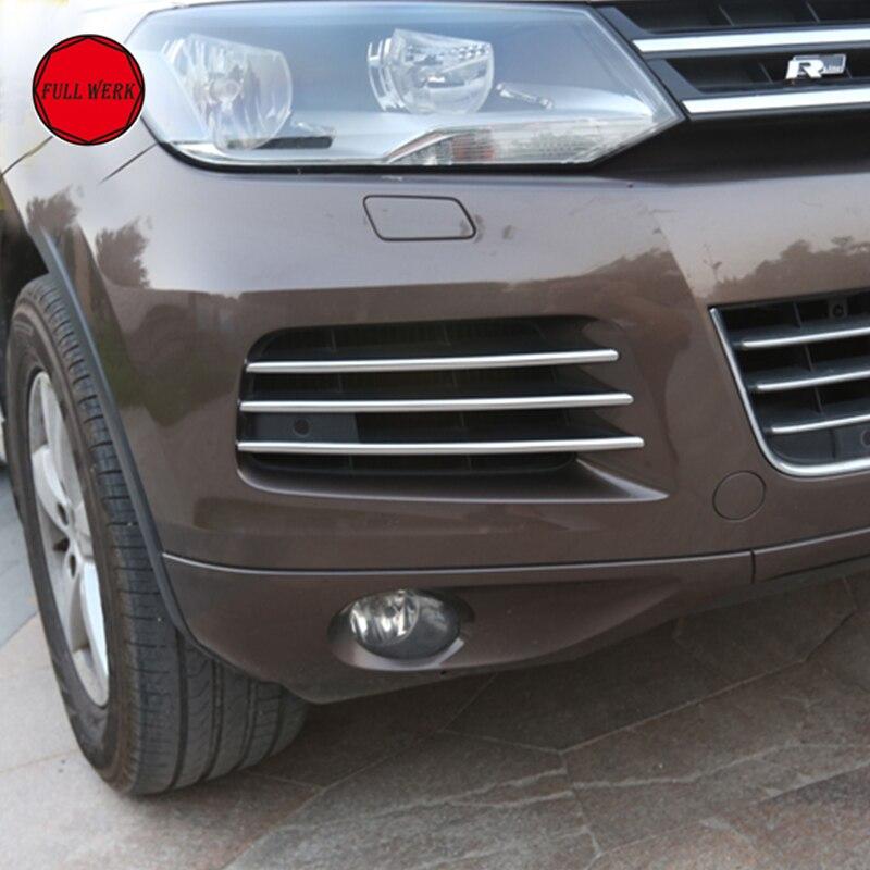 Luces antiniebla delanteras, pegatinas de cubierta de ajuste de acero inoxidable para decoración de luz antiniebla VW Touareg 2011-2015, accesorios de estilismo para coche