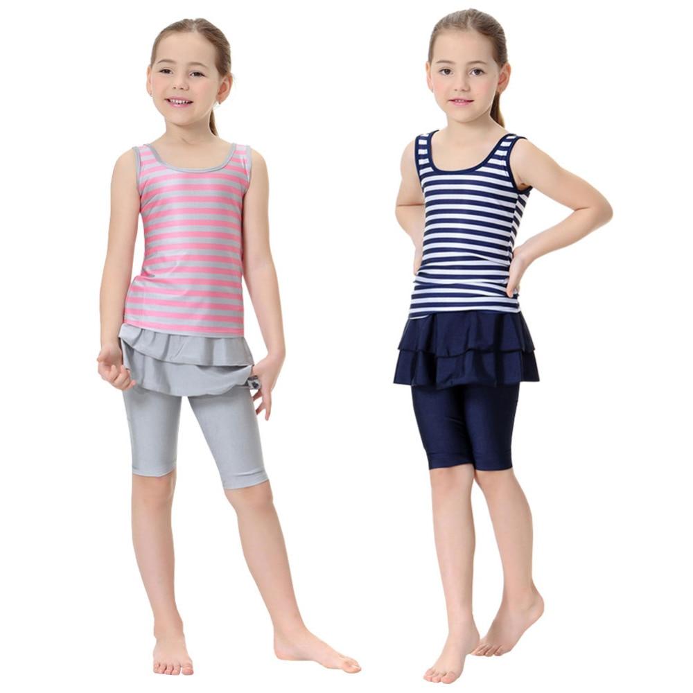 c3958ed21c Girls Swim Suits New Muslim Swimwear Swim Shorts Two-piece Swimsuits  Children Arab Islam Beach