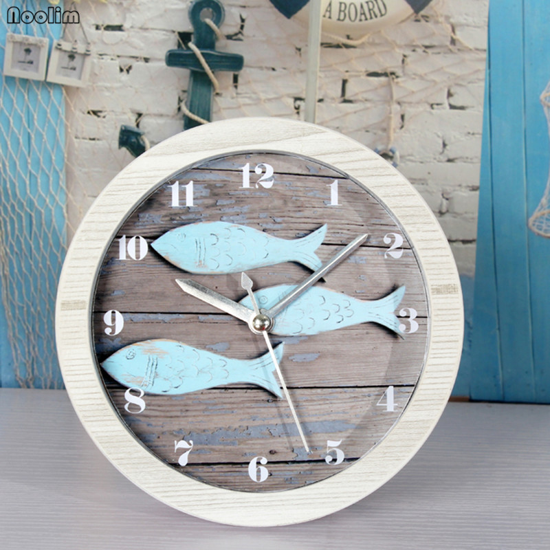 European Mediterranean Vintage Retro Small Fish Wood Alarm Clock Nordic Seat Clock Living Room Office Desktop Clock
