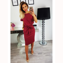 Eskulla 2019 New Women O-neck Solid color belt Shirt dress Autumn Short sleeve Bottoming temperament Slim fit Pencil Dresses