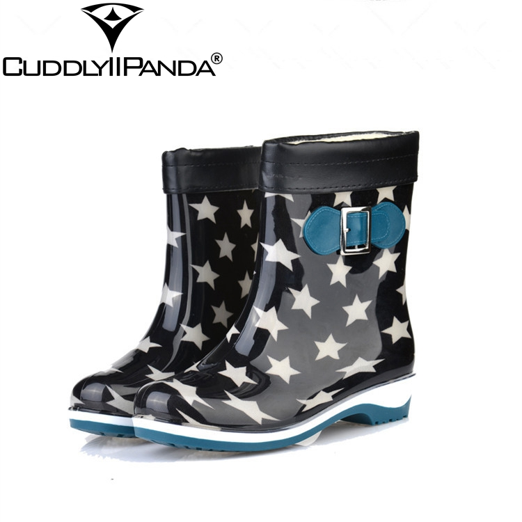 CUDDLYIIPANDA 2018 Women Fashion Cotton Rainboots Winter New Fashion Rain Mid-Calf Rubber Boots Shoes Waterproof Rain Boots free shipping fashion madam featherweight rubber boots rainboots gumboots waterproof fishing rain boots motorcycle boots