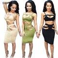 Sexy Clube Vestido de 2016 Mulheres Vestido de Verão 2 Peça Definir Plus Size Mulheres Roupa Preta Sexy Bodycon Bandagem Do Vintage Vestidos