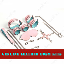 Real Leather BDSM Toys Tool Kits Bondage Genuine Handcuffs Necklace Adult Games Sadism Shackles Eye Patch