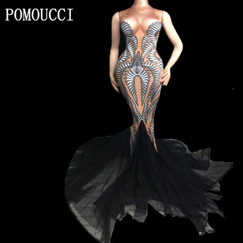 Women Fashion 3D Printing Long Trailing Dress Sexy Fishtail Dresses Female DJ Singer Stage Dance Outfit Party Costume Dress