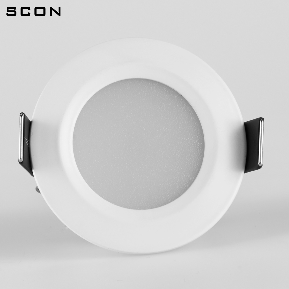 SCON 2.5inch 5W AC110-240V Living Room Round Waterproof LED Mini Downlight CRI RA>85 OSRAM Recessed Ceiling Lamp Indoor Light