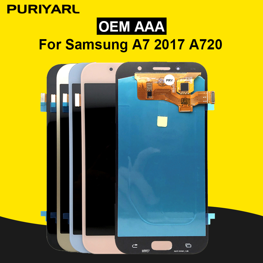 AAA AMOLED LCD Écran Pour Samsung Galaxy A7 2017 A720 A720F A720M A720Y LCD Assemblée D'affichage Remplacement Livraison Gratuite