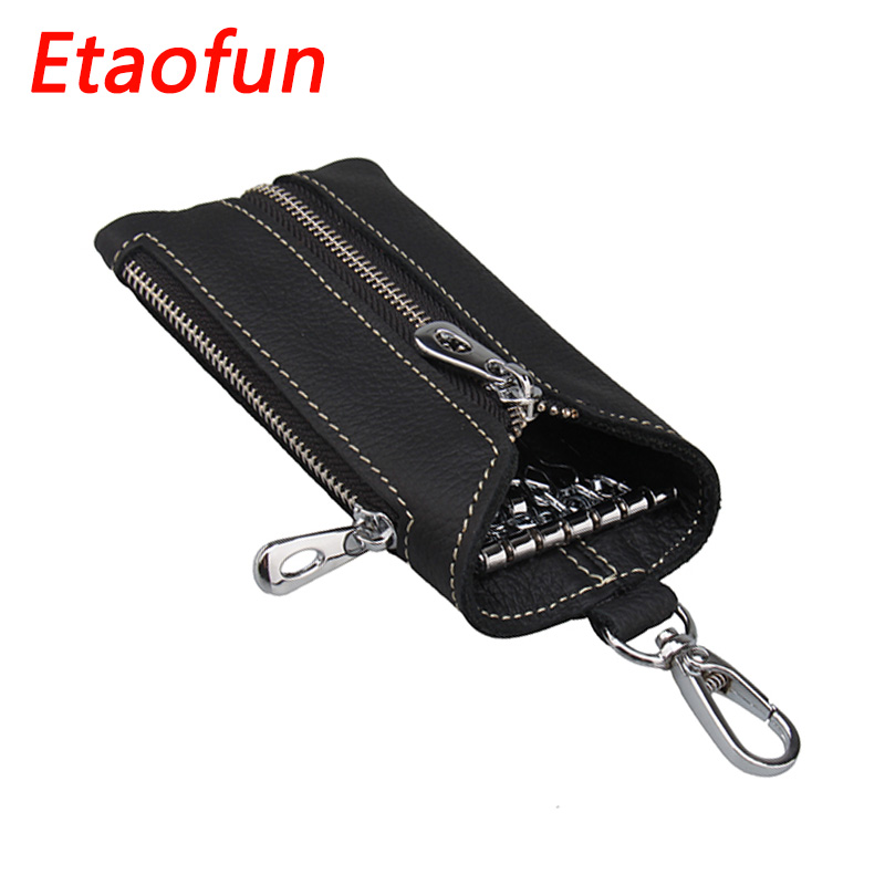 Etaofun Vintage Genuine Leather Keys Wallet Women Keychain Covers Zipper Key Case Bag Men Key Holder Housekeeper Keys Organizer vintage genuine leather key wallet men keychain covers zipper key case bag men key holder housekeeper keys organizer