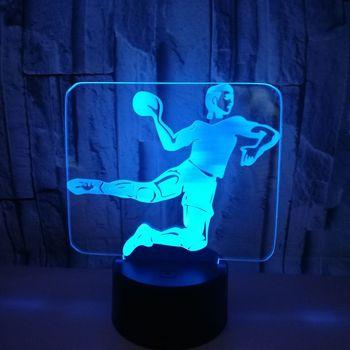 Çok renkli Hentbol 3d Lamba Akrilik Görüş Stereo Dokunmatik Usb led masa lambası Yenilik Çocuk odası dekorasyon 3D gece lambası