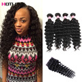 Brazilian Virgin Hair With Closure 8a Curly Brazilian Deep Wave With Closure Brazilian 4 Bundles Human Hair With Closure
