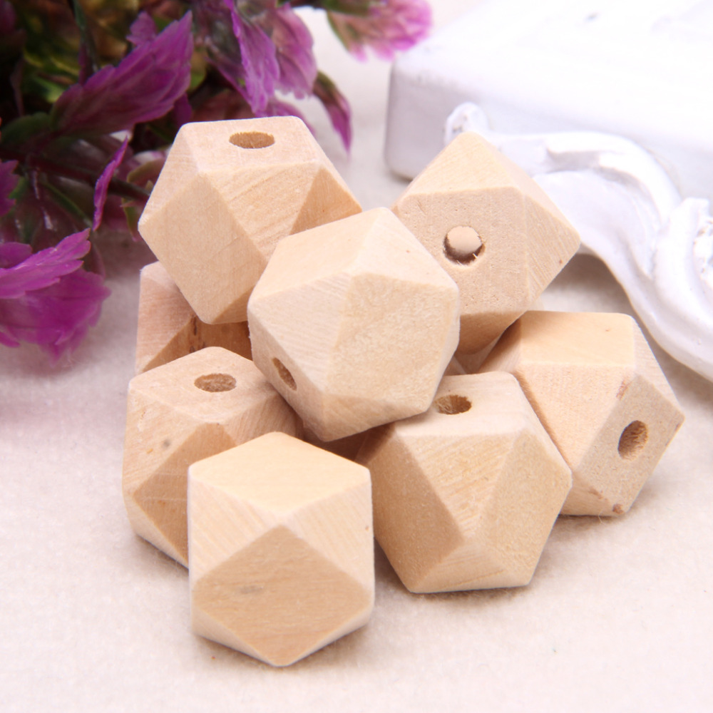 JAVRICK 10Pcs Wood Beads Spacer Beads 100pcs Unfinished Geometric Beads Jewelry For DIY Wooden Necklace 16MM image