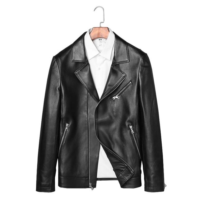 Quality 100% Real Genuine Sheepskin Leather Men Jacket Regular Male Black Coat Casual Men Natural Leather Spring Jacket 4XL
