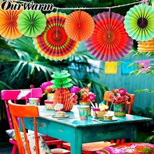 OurWarm 6 قطعة مروحة ورقية الزهور المكسيكي حفلة ديكور معلق حديقة البلد الزفاف ورق تزيين المشجعين للزينة حفلة