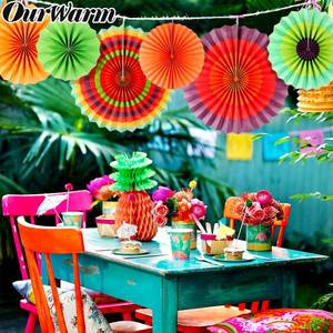 OurWarm 6pcs Paper Fan Flowers Mexican Party Hanging Decor Garden Country Wedding Decoration Paper Fans for Party Decorations