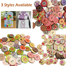 2 Holes Wood Buttons 100Pcs Craft Handmake Scrapbooking Sewing Clothing Accessories 20mm Flower Painted Crafts
