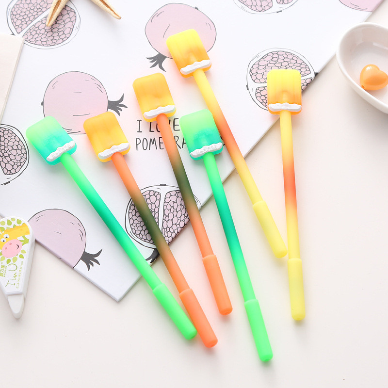 6Pcs/Lot Korean Creative Ice Lolly Popsicle Gel Pen Stationery Store Escritorio Stationary School Tool Material Thing Item Shop