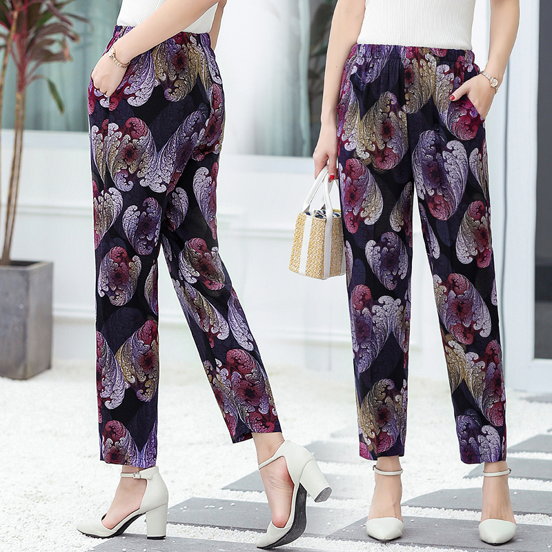 Image 3 - 22 Colors 2019 Women Summer Casual Pencil Pants XL 5XL Plus Size High Waist Pants Printed Elastic Waist Middle Aged Women Pants-in Pants & Capris from Women's Clothing
