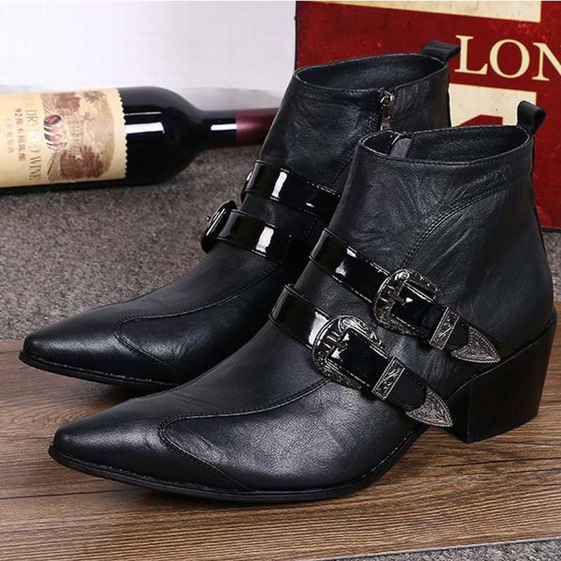 цены  New Fashion Genuine leather Men Pointed Toe Buckle Dress Boots Height Increasing Shoes Men's High heels Motorcycle Ankle Boots