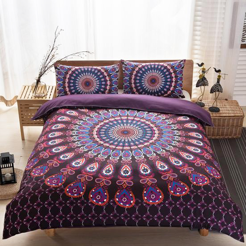 Bed sheet set with quilt - Bohemian Brand Pattern Bedding Set The National Peacock Printing Bedding 3pcs 1 Quilt Cover 2 Pillowcases