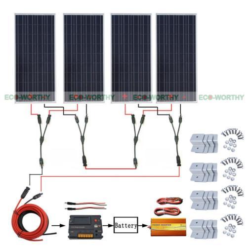 4 Pieces 12V Solar Panel 20A CMG Controller 1000W Inverter for Camping SUV RV Solar Generators 200w 2x100w 12v solar panel 20a lcd intelligent controller 1kw inverter for rv solar generators