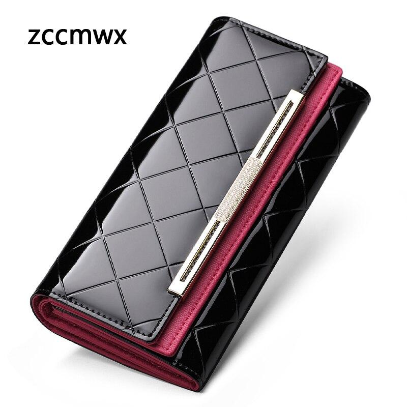 ZCCMWX Wallet Luxury Female Patent Leather Clutch Lady Party Purse Hot Sale Women Long Coin