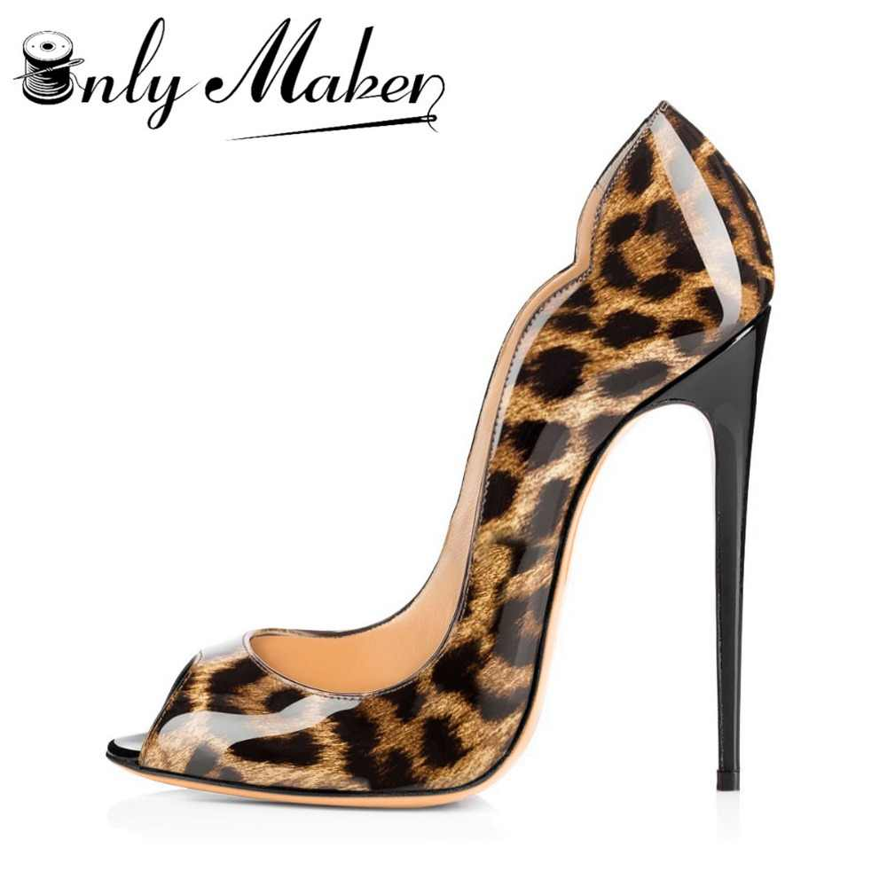 6bb6c626b Onlymaker Women's Sandals Pumps Shoes 12cm Thin High Heels Stilettos Peep  Toe Slip On Sandals Patent