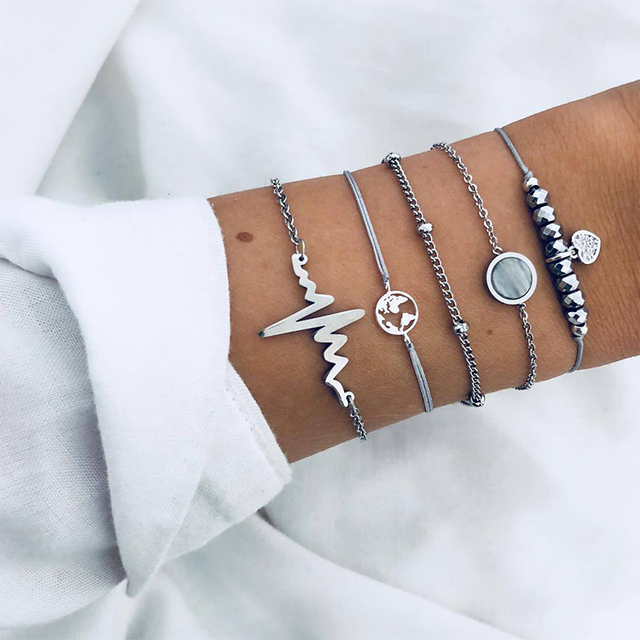 5 Pcs/ Set Retro Hollow Map Heart Heartbeat Beads Chain Leather Multilayer Silver Bracelet Set Women Fashion Valentines Day Gift