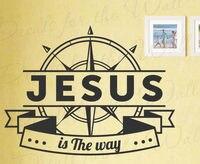 Jésus Est La Façon Prière Bible de Décalque de Vinyle Mur Art Citation de Dieu Christ Autocollant
