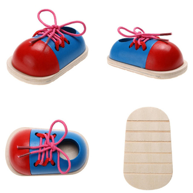 1PC Montessori Educational Toys Children Wooden Toys Toddler Lacing Shoes Early Education Montessori Teaching Aids Puzzle Toys