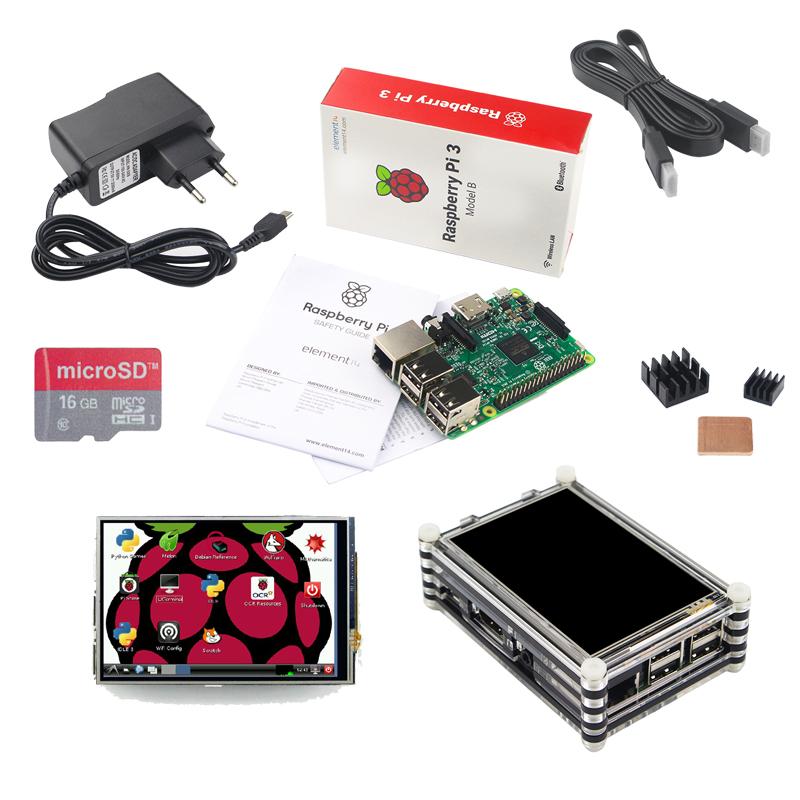 Prix pour NOUVEAU Raspberry Pi 3 Starter Kit Raspberry Pi 3 Modèle B + 3.5 pouce Écran Tactile + 16G Carte + Alimentation + Dissipateurs + Acrylique cas