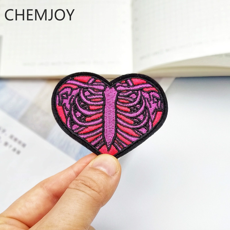 Skeleton Heart Embroidery <font><b>Punk</b></font> Patch Ironing on Cool Fabric Sew DIY Appliques for Jackets <font><b>T</b></font>-<font><b>shirts</b></font> Clothing Sticker Badges image