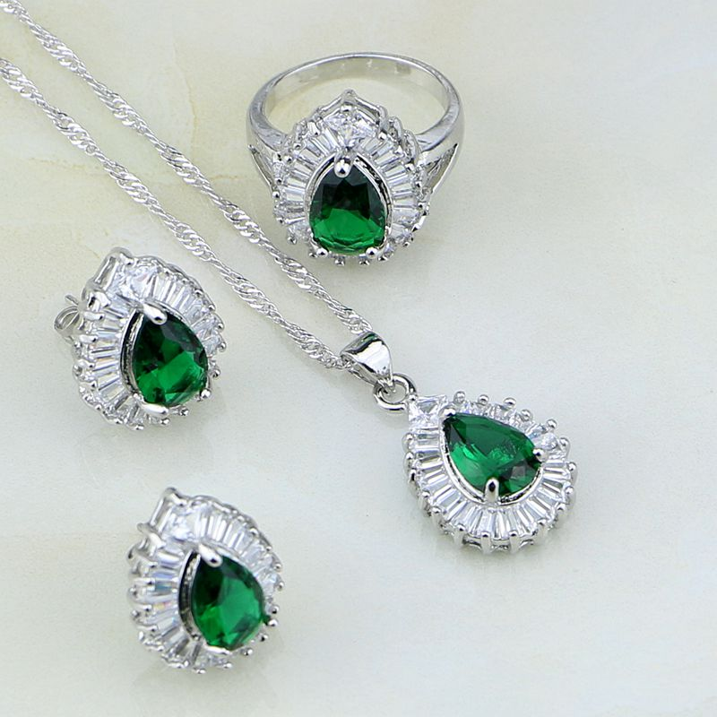 Bridal Jewelry Sets Natural Green Created Emerald White Cz 925 Sterling Silver Jewelry Sets For Women Wedding Earrings/pendant/necklace/ring Lovely Luster Jewelry & Accessories