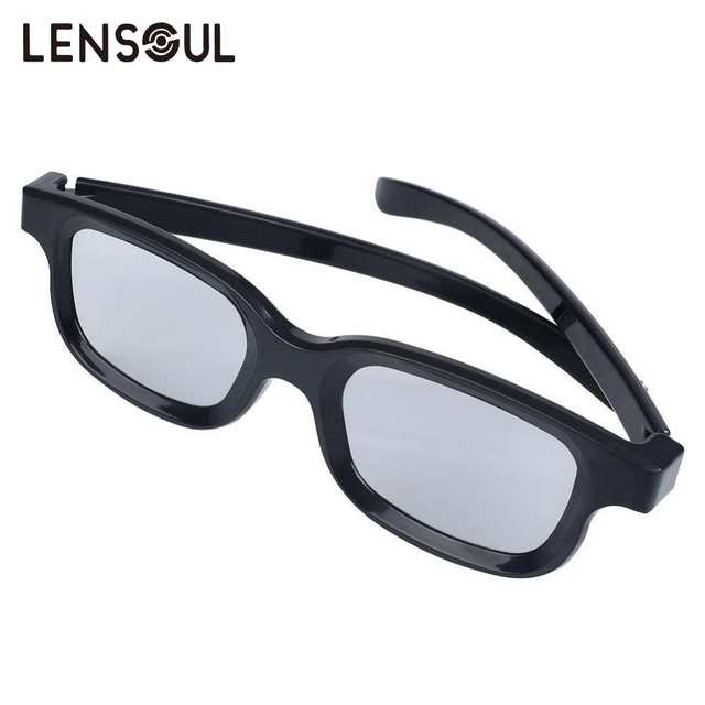 lensoul Round Circle Polarized 3D Glasses Movie DVD LCD Video Game Theatre  3D Glasses Black Wholesale