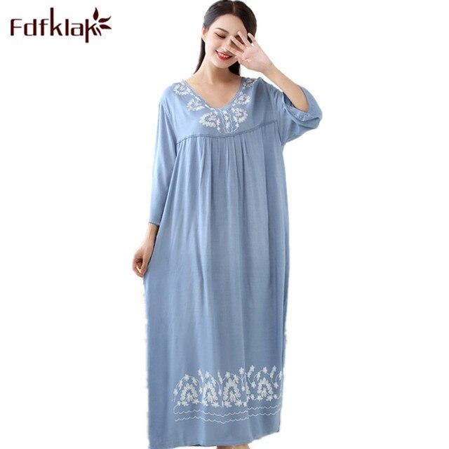 Fdfklak M XXL più le donne di formato degli indumenti da notte della biancheria di sonno del cotone del vestito lungo sexy camicie da notte per le donne camicia da notte di autunno della Molla