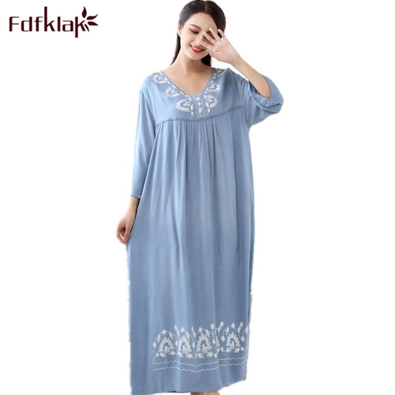 Fdfklak M-XXL plus size women sleepwear lingerie cotton sleep dress sexy long nighties for women nightgown Spring autumn