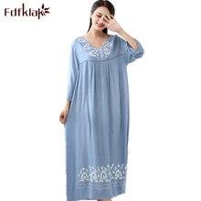 Fdfklak robe de nuit pour femmes, vêtements de nuit en coton, grande taille, lingerie longue, sexy, printemps et automne, M XXL