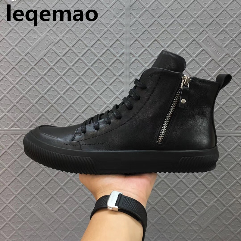 New Men Boots Arrival Shoes Basic High-TOP Ankle Genuine Leather Luxury Trainers Owen Boots Casual Lace-up Zip Flats Shoes Black fonirra new fashion high top casual shoes for men ankle boots pu leather lace up breathable hip hop shoes large size 45 728