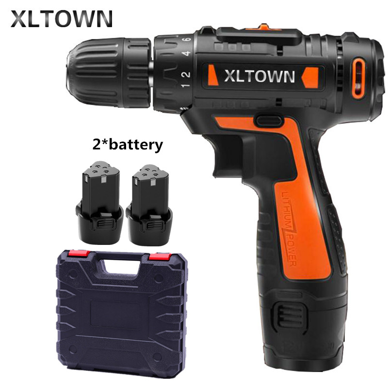 цена на Xltown12v Cordless Mini Electric Drill with 2 battery Multi-energy lithium battery Two-speed electric screwdriver power tools