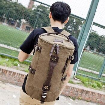 Мужской Дорожный рюкзак, вместительный холщовый рюкзак с цилиндрической сумкой, сумка для путешествий