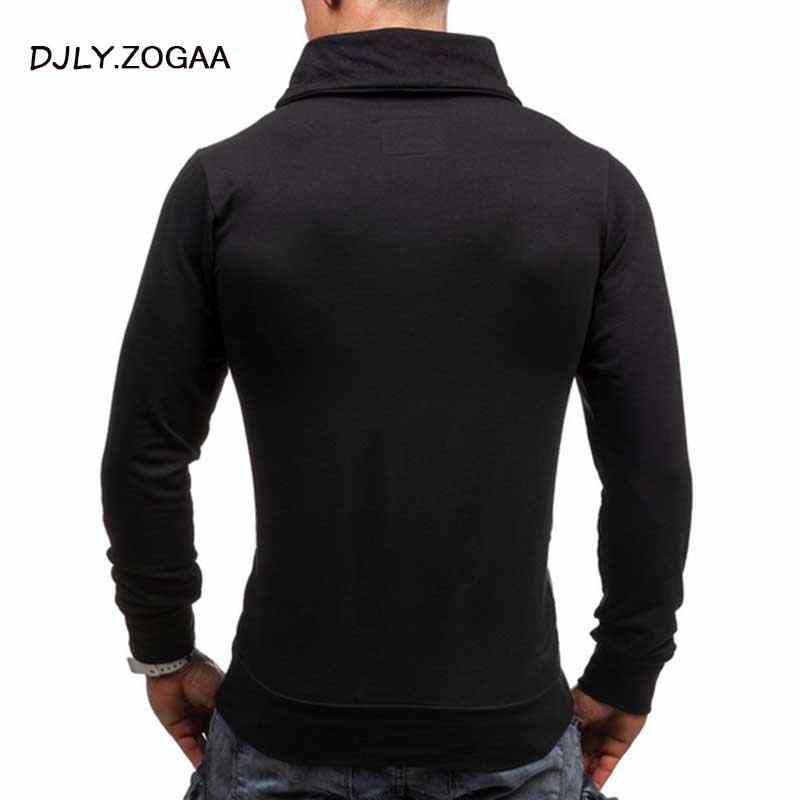 ZOGAA 2019 Geek New Men's Polo Shirt Grid Color Matching Long Sleeve Slim Top