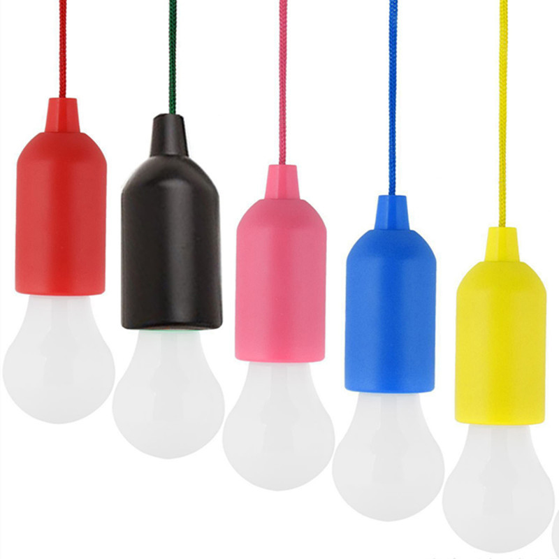 Portable Pull Bulb Light LED Lamp Camping Lantern Outdoor Battery Powered Colorful LED Bulb Hanging Lamp White Lighting