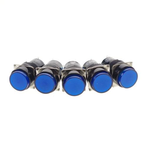 5 x Latching 12V Pilot Light Lamp Push Button Switch Blue 1NO 1NC 16mm Hole