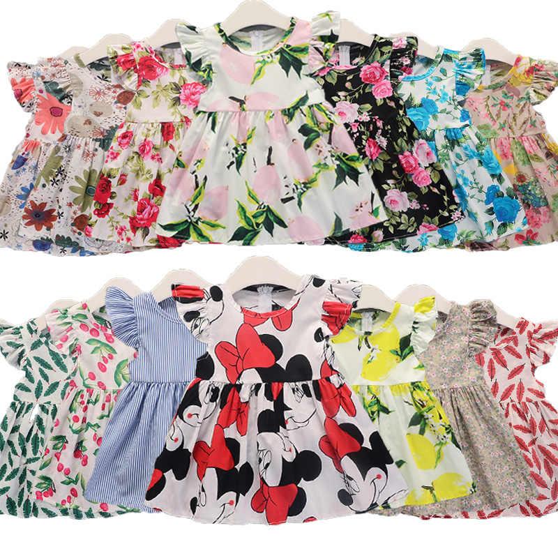 Meninas vestidos 2019 novo verão sem mangas meninas dos desenhos animados minnie vestido bonito listrado impressão algodão praia festa de bebê roupas da menina