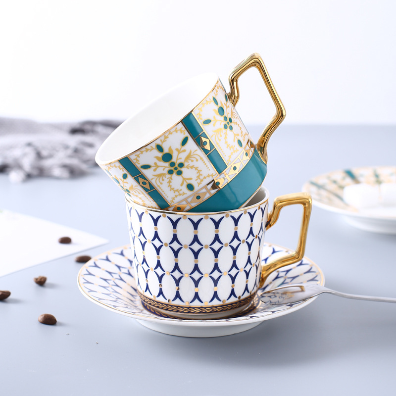 b5c76ceb985 European Style Luxurious Ceramic Tea Cup And Saucer Set Creative Golden  Design Porcelain Tea Bone China Coffee Cup Set Drinkware-in Coffee Cup &  Saucer Sets ...