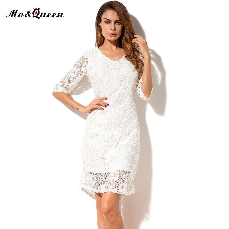 White Lace Dresses Plus Size Women