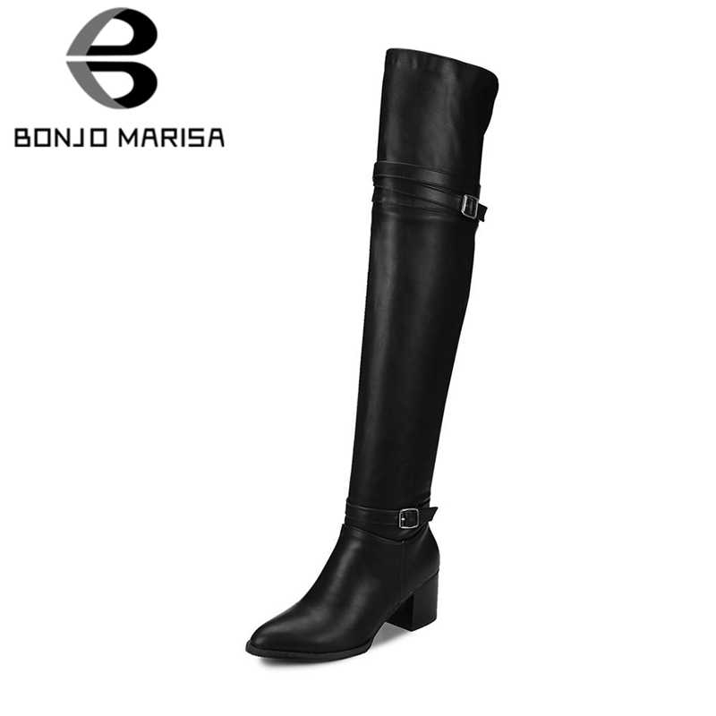 BONJOMARISA แฟชั่นฤดูใบไม้ร่วงผู้หญิง Knight รองเท้าเข่าต้นขาสูงรองเท้าผู้หญิง 2020 ใหม่รองเท้าส้นสูงรองเท้าผู้หญิง PLUS ขนาด 32-48