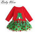 Christmas Dress Child Kids Girls Long&short Sleeve Christmas tree  Tops 1-6T Clothes lyw-20740