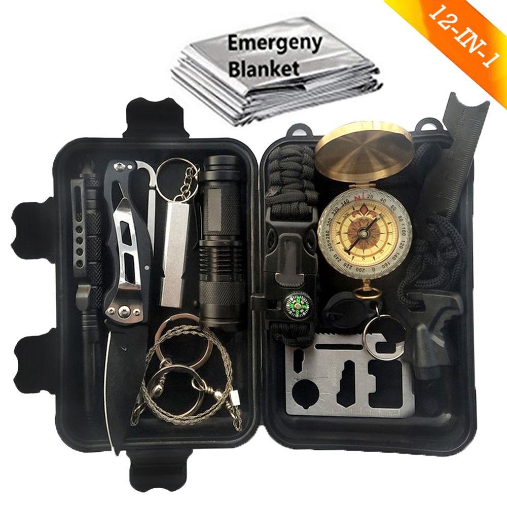 12 En 1 Camping supervivencia Kit de viaje al aire libre de la primera ayuda SOS EDC suministros de emergencia portátil turismo equipo