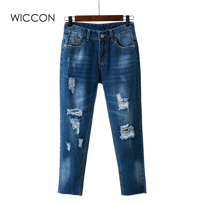 Boyfriend Jeans For Women New Fashion Spring Women Jeans Loose Holes Ripped Denim Harem Pants Push Up Jeans Woman american