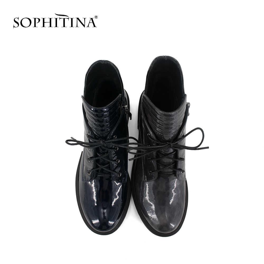 SOPHITINA benzersiz kadın yarım çizmeler yüksek hakiki deri ayakkabı sıcak kısa peluş siyah Retro yuvarlak ayak dantel-up çizmeler M51