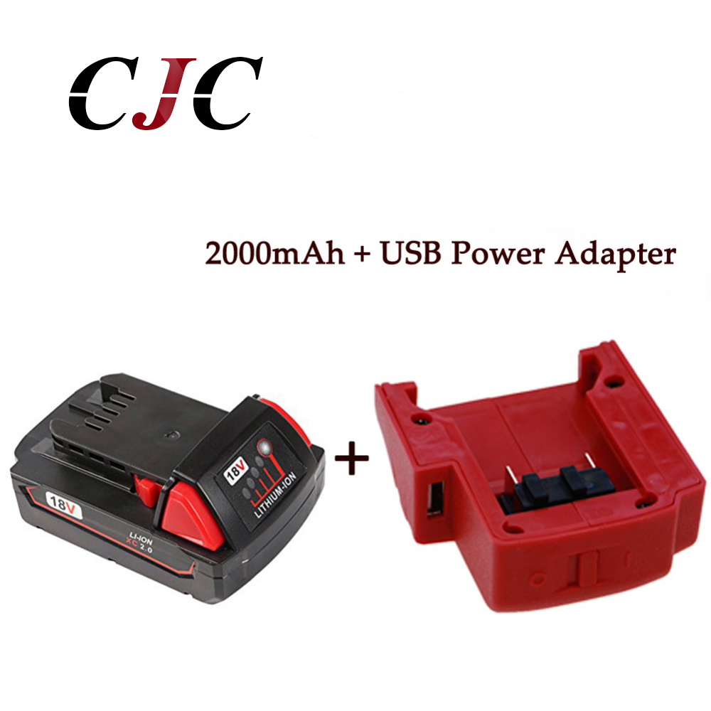 18V 2000mAh Li-Ion Replacement Power Tool Battery for Milwaukee M18 XC 48-11-1815 M18B2 M18B4 M18BX M18BX + USB Power Source 18v li ion 3000mah replacement power tool battery for milwaukee m18 xc 48 11 1815 m18b2 m18b4 m18bx li18 with power charger
